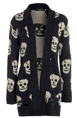 Thever Women Ladies Halloween Skull Skeleton Print Open Front Knitted Cardigan (X/L(14-16), Black)