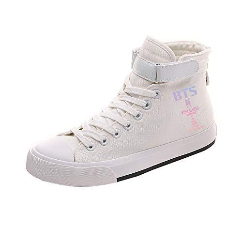 Ayuda Pareja Zapatos Cordones Popular Alta Casuales De White13 Lona Bts Con Cómodo Personalidad aqFvFS
