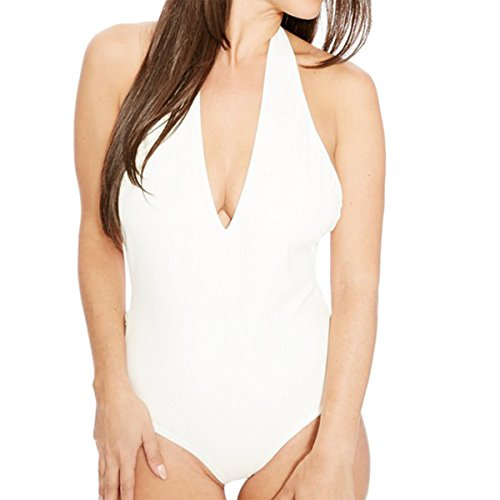 E.JAN1ST Women's Thong Bodysuit Halter Neck Bodycon Romper One-Piece Dance Leotards, White£¬TagsizeM=USsize12-14