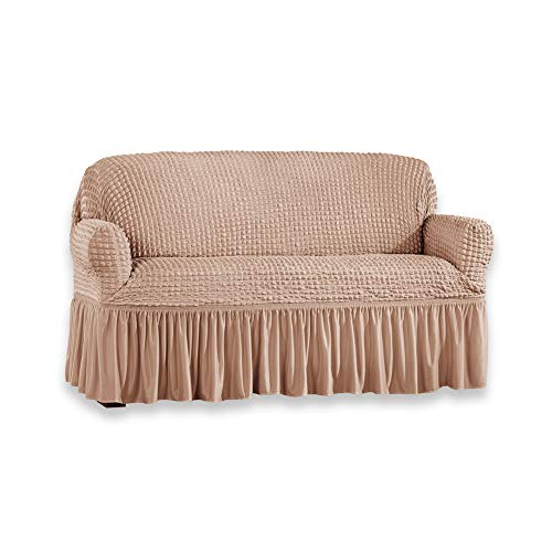 Collections Etc Classic Textured Ruffle Stretch Slipcover - Furniture Protector for Easy Coverage, Taupe, Loveseat