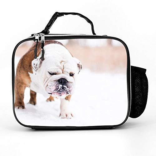Athena Carroll LunchBags Meal Bag Detachable Leather Meal Pack Dog Mammal Vertebrate Dog Breed Canidae Old English Bulldog Bulldog Toy Bulldog Olde English Bulldog color82 21279cm
