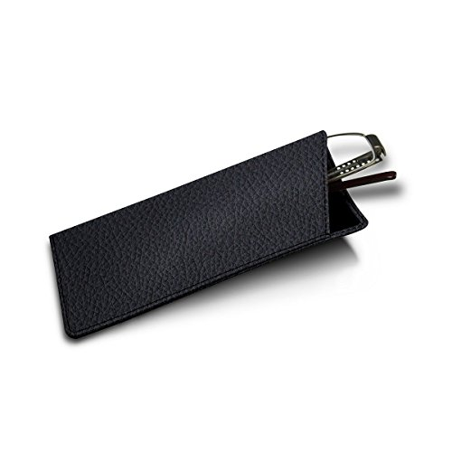 Lucrin - Genuine Leather Thin Eyeglass Case and Holder - Navy Blue - Granulated Leather by Lucrin