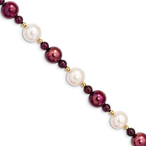 - 14k Yellow Gold 10 11 White 10mm Cranberry Freshwater Cultured Pearl Red Garnet Bracelet 7.5 Inch Gemstone Fine Jewelry Gifts For Women For Her