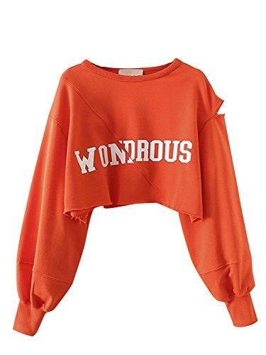 Orange Letter Printed Cut Out Crop Sweatshirt L - Ladies Black Distressed Crewneck