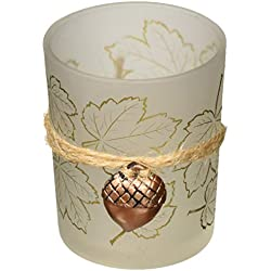 Kate Aspen Leaf Print Tea Light Holder with Acorn Charm (Set of 4), Frosted/Gold/Copper