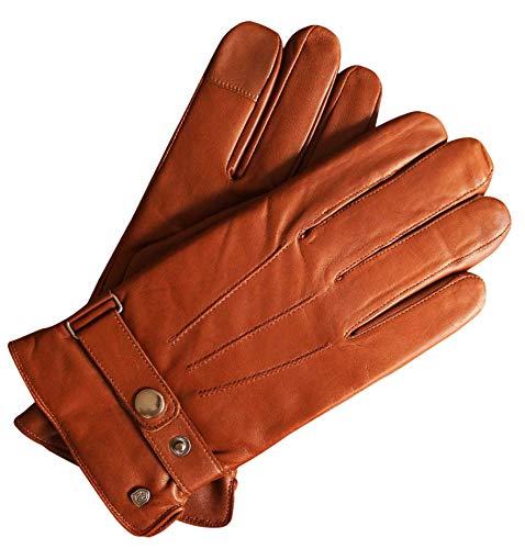 AKAROA ESTD 2019 Lederhandschuhe Herren RON, italienisches Haarschafleder, Touchfunktion, Strickfutter aus 50% Kaschmir und 50% Wolle, 5 Größen S-XXL