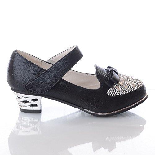 Miss Image UK New Girls Kids Childrens Diamante Low Heel Bow Party Wedding Sandals Shoes Size Black 0KbaLGqS0b
