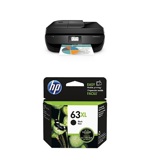 HP OfficeJet 4650 Wireless All-in-One Photo Printer with Mobile Printing, Instant Ink ready (F1J03A) and HP 63XL Black Original High Yield Ink Cartridge (F6U64AN) Bundle by HP