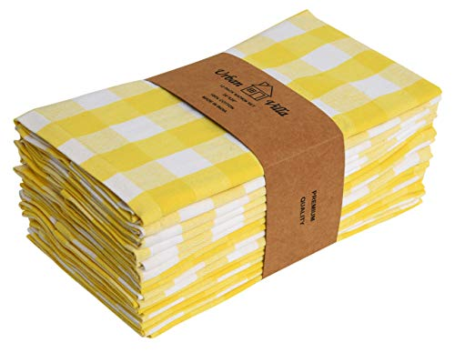 Cloth Napkins - Premium Quality,Buffalo Check Plaid- Dinner Napkins, 100% Cotton, Set of 12,Size 20X20 Inch,Yellow/White Oversized Cloth Napkins with Mitered Corners,Ultra Soft, Durable Hotel Quality ()