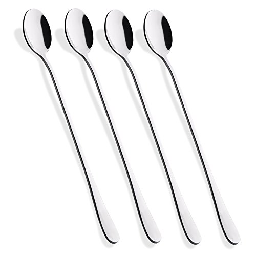 Silver Coffee Spoons (Hiware 9-Inch Long Handle Iced Tea Spoon, Coffee Spoon, Ice Cream Spoon, Stainless Steel Cocktail Stirring Spoons, Set of 4)