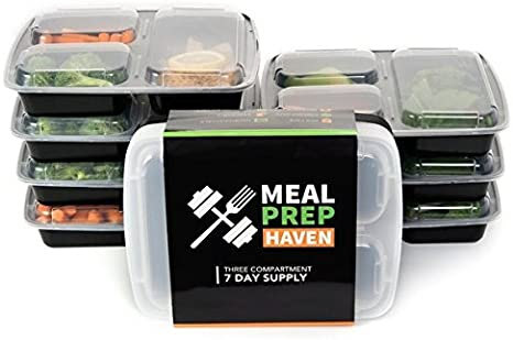 Meal Prep Containers Food Storage Reusable 3 Compartment Freezer Microwave Set 7