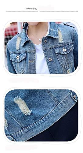 Blau Casual Strappato Chic Corto Bavero Elegante Donna Single Tasche Breasted Alta Cappotto Vita Cute Primaverile Lunga Di Manica Jeans Autunno Giacche Anteriori Moda 6vT6B0