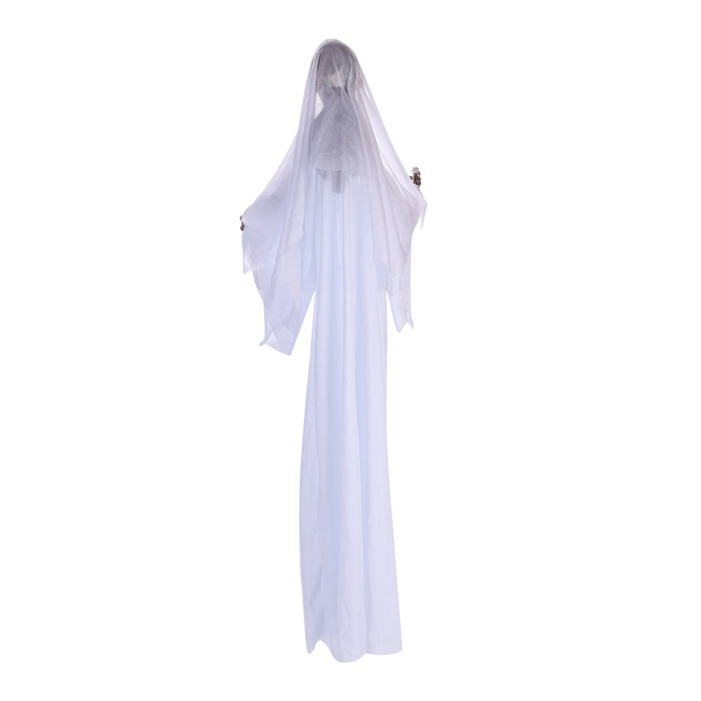 IBLUELOVER Ghost Hanging Halloween Decoration With Glowing Red Eyes Scary Voice Halloween Skeleton Props Haunted House Decoration Spooky Halloween Decor Grim Reaper Skull