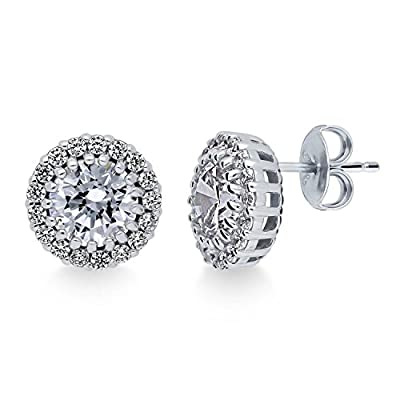 BERRICLE Rhodium Plated Sterling Silver Round Cut Cubic Zirconia CZ Halo Stud Earrings get discount