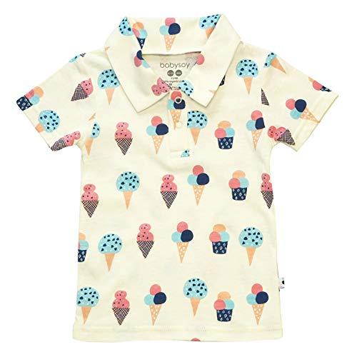 Babysoy Short Sleeve Organic Polo tee Shirt (6-12 Months, Ice Cream)
