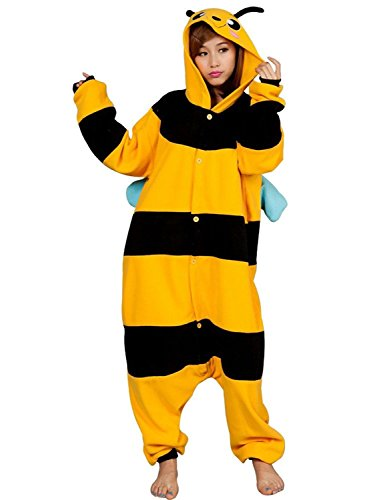 FashionFits Unisex Adult Cosplay Bee Animal Pajama Costume One Piece Jumpsuit L]()
