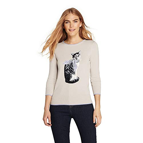 (Lands' End Women's Tall 3/4 Sleeve Supima Cotton Animal Sweater, M, Moonstone Chic)