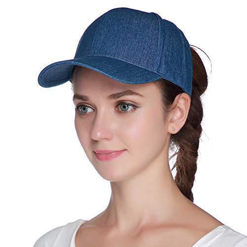Womens Ponytail Baseball Hat Messy High Buns Washed Denim Cotton Trucker Ponycaps Plain Visor Cap Dad Hat - Cotton Denim Visor