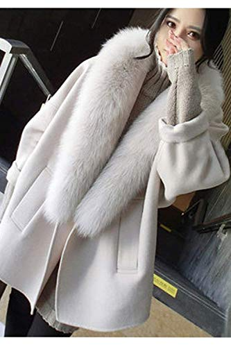 Prendas Abrigo Outerwear Hipster Piel Invierno De Exteriores Mujer Grey Adelina Termica Chaqueta Anchos Cuello Manga Casuales Abrigos Larga Retro Con Elegantes Lana nxqBgaSHwg