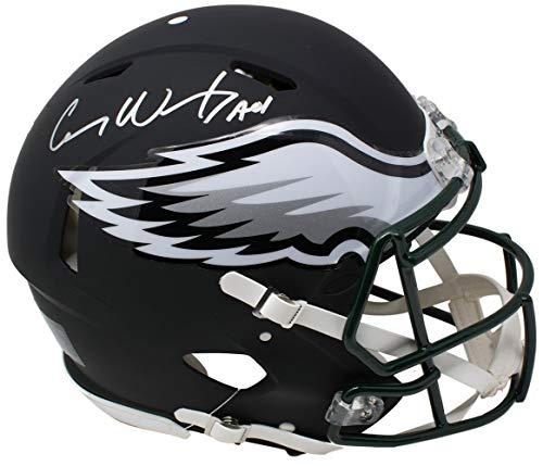 Carson Wentz Signed Eagles Full Size Speed Black Matte Authentic Helmet Fanatics ()