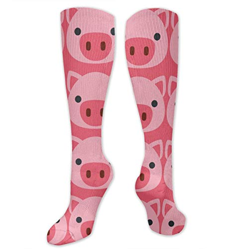 Compression Socks for Women Men Nurses Runners - Best Medical Stocking for Travel, Maternity, Running, Athletic, Varicose Veins - Cute Pig Face Pink ()