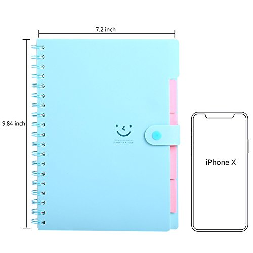 Spiral Notebook, 5 Subject Notebooks, Cute Diary, Wide Ruled Large Writing Paper, Colored Hardcover & Divider, 100 Sheets Wire Bound Notepad, 9.8''×7.2'', Smile Journal Memo Planner for Kids Girls Women by IDOMIK (Image #2)