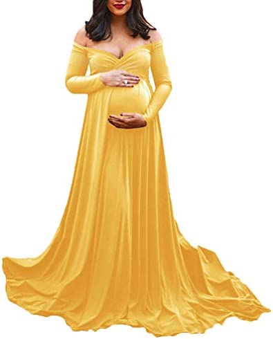 Pregnant Women Photos Shoot Maternity Maxi Dresses Strapless Gown Elegant Clothing Clothes Photography Props Maternity Dresses Off Shoulder Sleeveless Solid Gown Ladies Trailing Dress Buy Online At Best Price In Uae