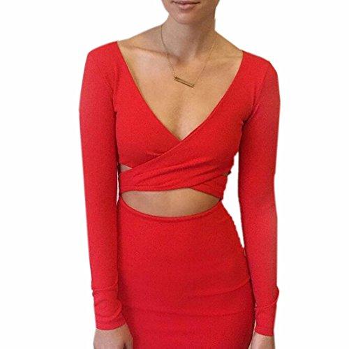 QIYUN.Z ZF10S2229 - Vestido para mujer Rojo