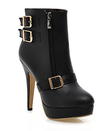 Short Platform Shoes YE Winter and Stiletto Heels Autumn Ankle Buckle Shoes Black Elegant High Fashio Zippers Boots Women with qpgYnxdrp