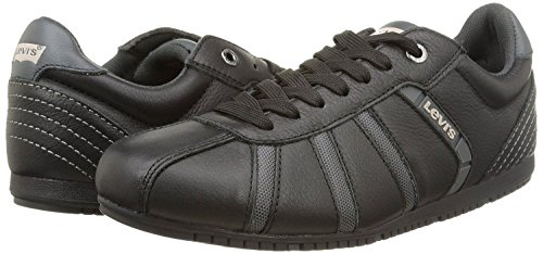 Levis Almayer Noir Gris Hommes En Cuir Formateurs Chaussures Bottes