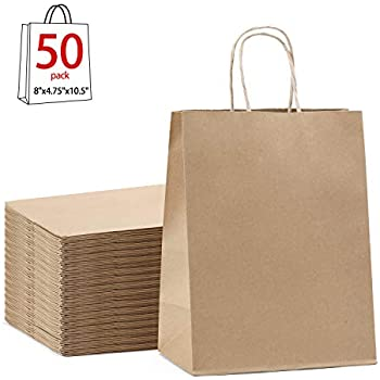 Amazon.com: Brown Paper Kraft Bags with Handles for Gifts ...