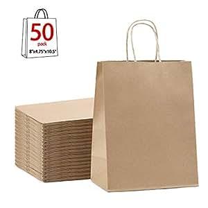 Amazon.com: Bolsas de regalo de color marrón, 7.9 x 4.7 x ...