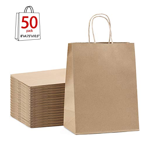 (GSSUSA Brown Gift Bags 8x4.75x10.5 50Pcs Kraft Paper Bag,Party Bags,Retail Bags,Shopping Bags,Brown Paper Bags with Handles 100% Recyclable)