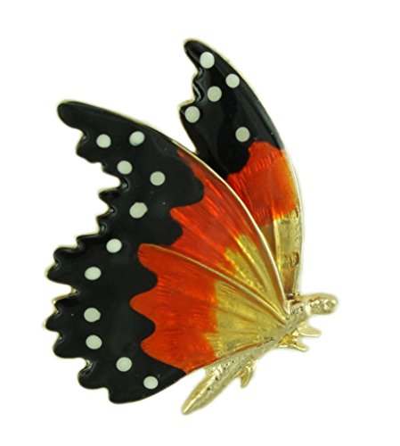 Lilylin Designs Orange and Black Enamel Monarch Butterfly Brooch Pin