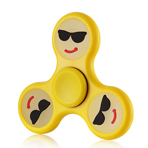 Sun Face Spinner - Zemojis Glow in the Dark Tri-Spinner Fidget Hand Spinner Toy Stress Reducer EDC Focus Toy Relieves ADHD Anxiety and Boredom Satisfaction Guarantee (Smilling Face w Sunglasses)