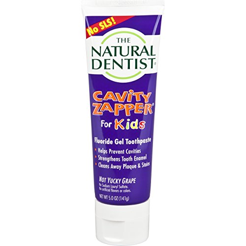 The Natural Dentist Cavity Zapper Fluoride Gel Toothpaste For Kids, Not Yucky Grape Flavor, 5 Ounce Tube, Kids Toothpaste for Daily Use, Reduces Plaque, Helps Prevent Gingivitis and Cavities, No SLS