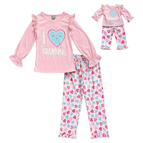 (Dollie & Me Girls' Apparel Screen-Printed Pajamas with Matching Doll Outfit in, Pink/Multicolor Size 7)