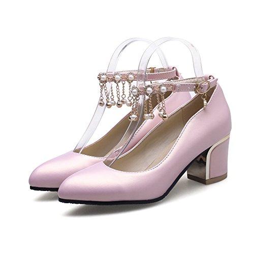 AllhqFashion Damen Blend-Materialien Schnalle Spitz Zehe Mittler Absatz Rein Pumps Schuhe Pink
