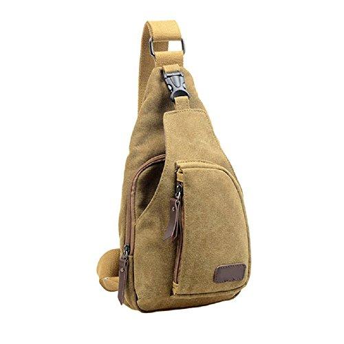Zoom Sling Pack (Men Chest Bag; Mosunx(TM) Outdoor Sports Casual Canvas Unbalance Backpack Crossbody Shoulder Bag (Khaki))