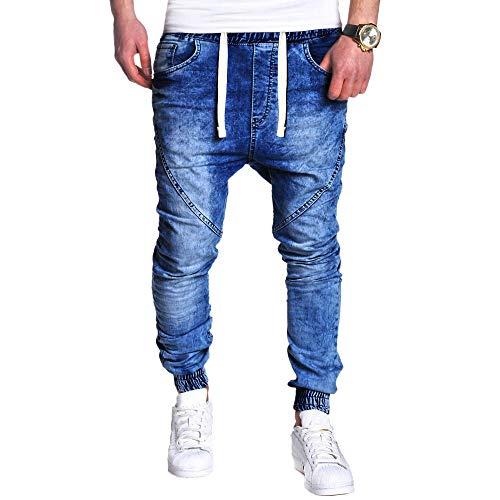 ALIKEEY Moda para Hombres Casual Vintage Elastic Wash Distorted Denim Slim Jeans Jeans Azul