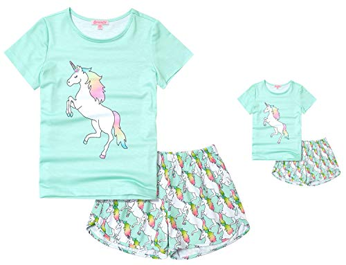 Matching Girls & Dolls Pajamas Mint Green Unicorn Pj Sets Sleepwear 4t 5t (18 Inch Doll Green Clothes)