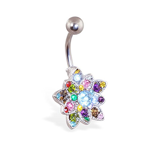 - MsPiercing Small Multicolor Jeweled Flower Belly Button Ring