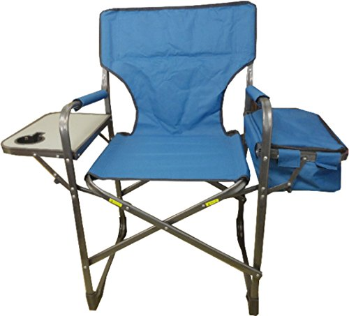 World Famous Sports Folding Director's Camp Chair with Table, Blue