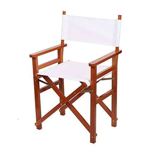 VAIY Artist Director Chair, Folding Makeup Wood Chair, Easy to Carry Solid Wood Chair (Color : Teak Color, Size : A) Director Leatherette Office Chair