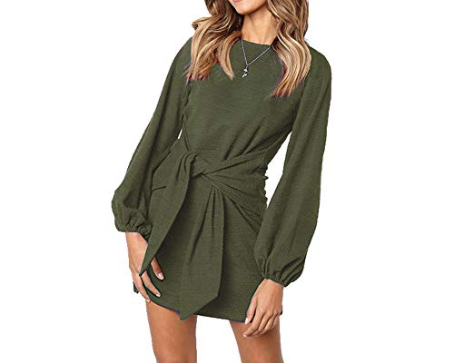 Longwu Women's Loose Casual Front Tie Long Sleeve Bandage Party Dress Green-L