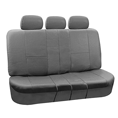 FH Group PU002SOLIDGRAY013 Gray Faux Leather Split Bench Car Seat Cover ()