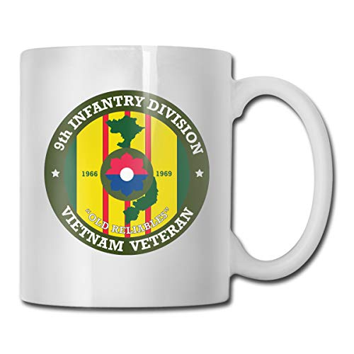 Mager 9th Infantry Division Vietnam Veteran Cocoa Mugs Ceramic Cocoa Cups with Large C-Handle