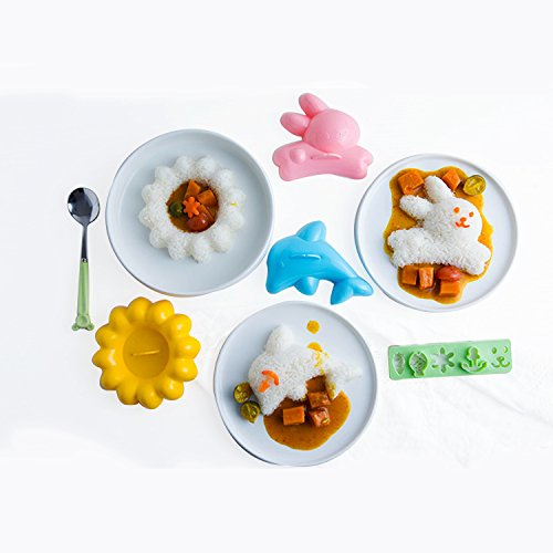 XDOBO 4 in 1 Bento Accessories Baby Rabbit Baby Dolphin Mold Rice Mold, Sushi Maker, DIY for Kids Lunch, Cake Tool