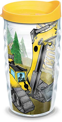 Tervis 1129636 Construction Trucks Insulated Tumbler with Wrap and Yellow Lid, 10oz Wavy, Clear