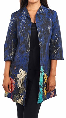 Joseph Ribkoff Multicoloured Metallic Accent Coat Style 164682 - Size 6 by Joseph Ribkoff